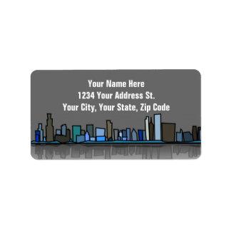 Etiquetas de dirección del horizonte de la ciudad