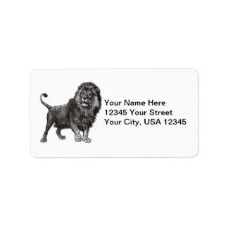 Etiquetas de dirección del león del vintage