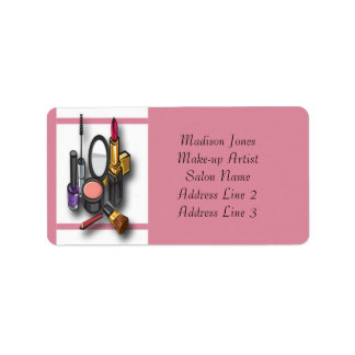 Etiquetas de dirección del maquillaje del artista