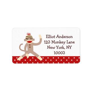 Etiquetas de dirección del mono del calcetín