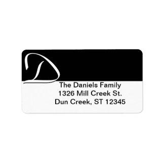 Etiquetas de dirección del monograma de D