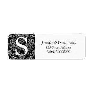 Etiquetas de dirección del monograma S del damasco