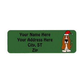 Etiquetas de dirección del navidad de Basset Hound