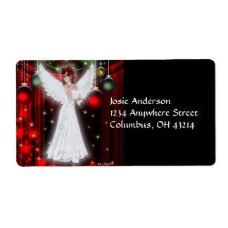Etiquetas de dirección del navidad del ángel del
