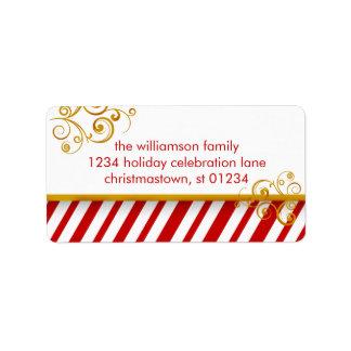 Etiquetas de dirección del navidad del bastón de