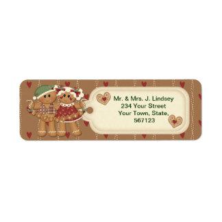 Etiquetas de dirección del navidad del pan de jeng