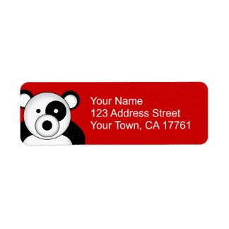 Etiquetas de dirección del oso de panda