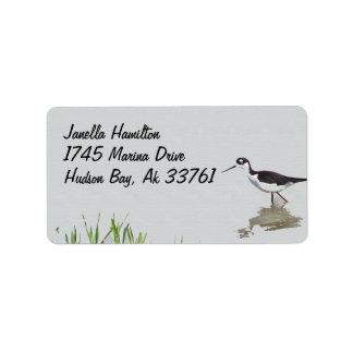 Etiquetas de dirección del pájaro de los humedales