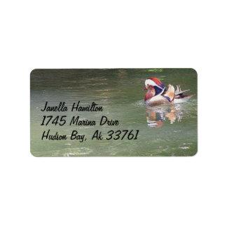 Etiquetas de dirección del pato de mandarín