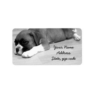Etiquetas de dirección del perrito del boxeador