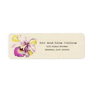 Etiquetas de dirección del ramillete de la orquíde