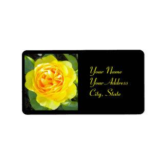 Etiquetas de dirección del rosa amarillo