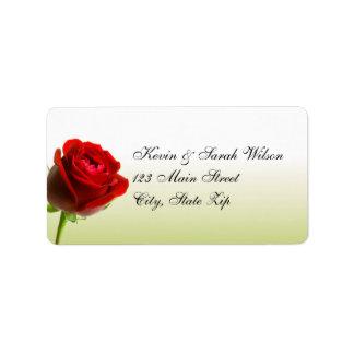 Etiquetas de dirección del rosa rojo