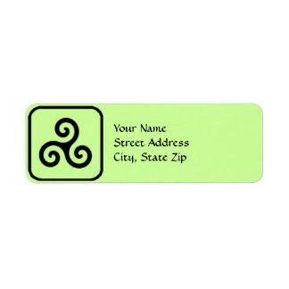 Etiquetas de dirección del símbolo de Triskele del