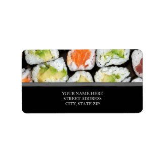 Etiquetas de dirección del sushi
