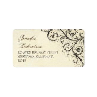 etiquetas de dirección del vintage con flourishes