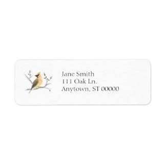Etiquetas de dirección del Waxwing de cedro de la