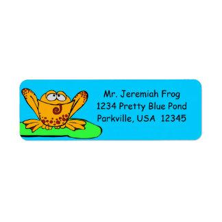 Etiquetas de dirección, dibujo animado anaranjado  etiqueta de remitente