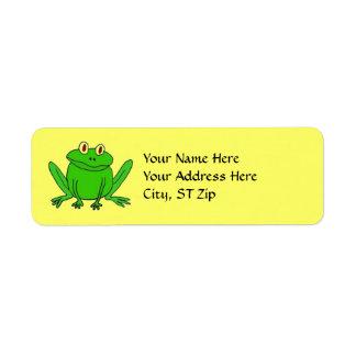 Etiquetas de dirección divertidas de la rana del