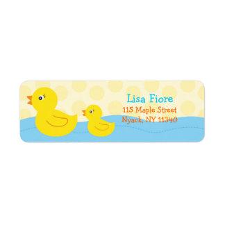 Etiquetas de dirección Ducky de goma del pato