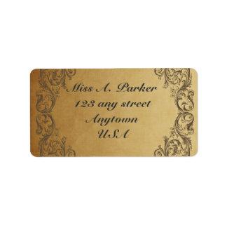 Etiquetas de dirección elegantes adornadas barroca