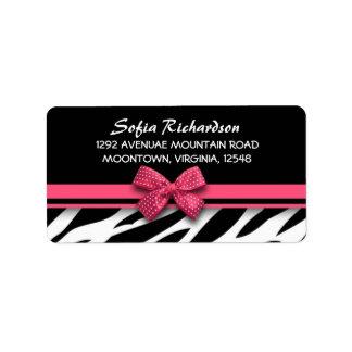 etiquetas de dirección elegantes de la cebra rosad