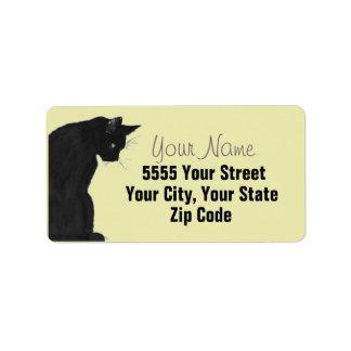 Etiquetas de dirección elegantes del gato negro