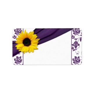 Etiquetas de dirección en blanco púrpuras del boda