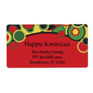 Etiquetas de dirección felices de Kwanzaa