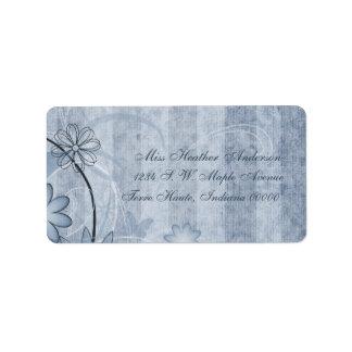 Etiquetas de dirección florales azules de encargo