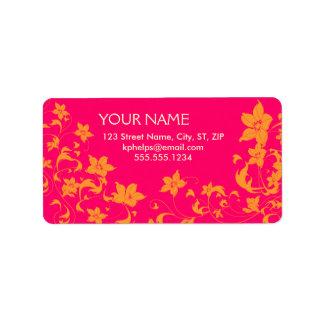 Etiquetas de dirección florales de las rosas fuert