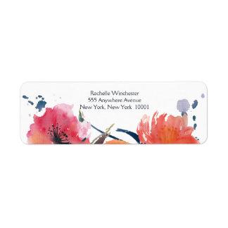 Etiquetas de dirección florales del boda de la
