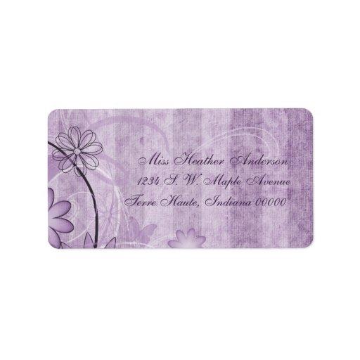 Etiquetas de dirección florales del boda de la lav