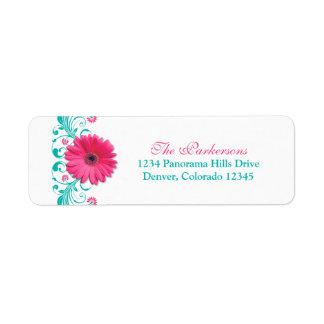 Etiquetas de dirección florales del boda de la mar