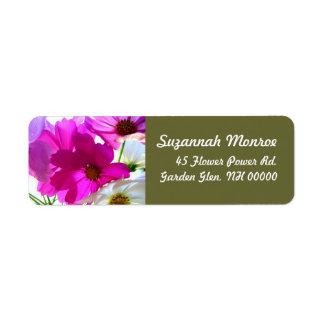 Etiquetas de dirección florales del cosmos rosado