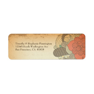 Etiquetas de dirección florales rojo marrón de los