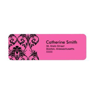 Etiquetas de dirección florales rosadas del vintag