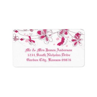 Etiquetas de dirección florales rosadas oscuras de
