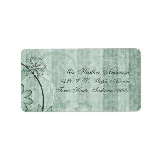 Etiquetas de dirección florales verdes de encargo