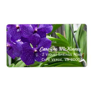 Etiquetas de dirección floridas púrpuras