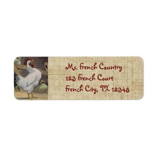 Etiquetas de dirección francesas de la gallina del