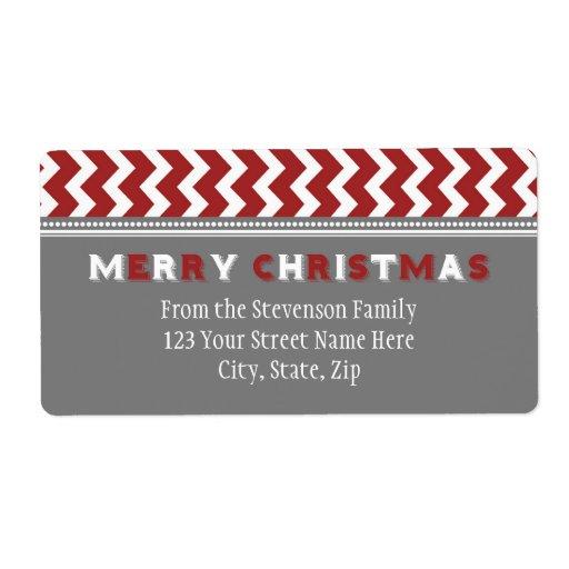 Etiquetas de dirección grises rojas del navidad de