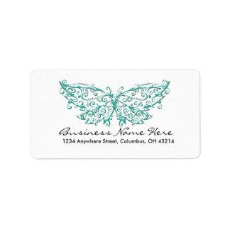 Etiquetas de dirección hermosas de la mariposa de