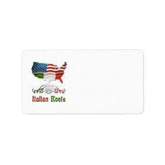 Etiquetas de dirección italianas americanas