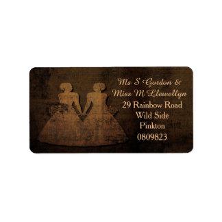Etiquetas de dirección lesbianas del boda del amor