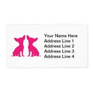 Etiquetas de dirección lindas del perro rosado de