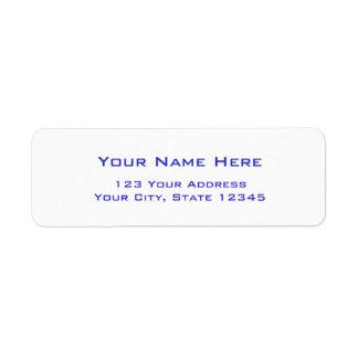 Etiquetas de dirección llanas con las letras azule