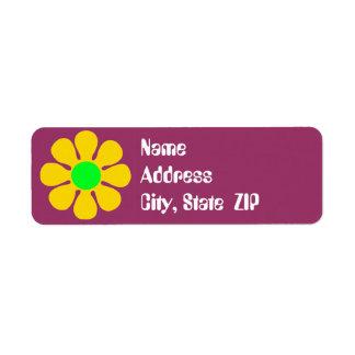 Etiquetas de dirección maravillosas de la flor