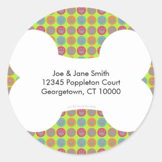 Etiquetas de dirección multicoloras de la pegatina redonda