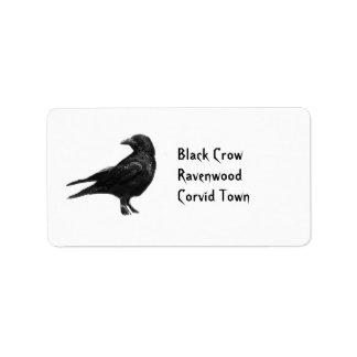 Etiquetas de dirección negras del cuervo
